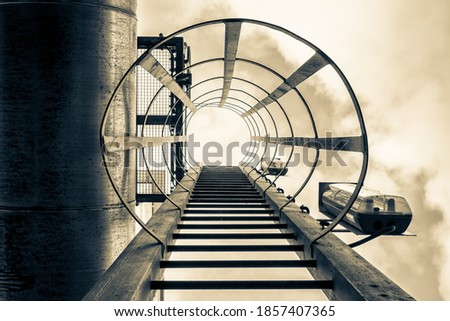Industrial safety ladder or cage ladder of galvanized steel, The Netherlands Photo stock ©