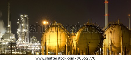 Industrial scenery at night