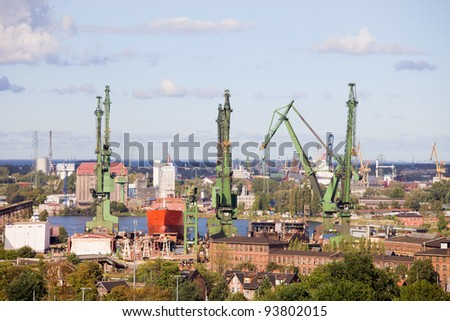 Industrial scenery of the historic shipyard in the city of Gdansk in Poland