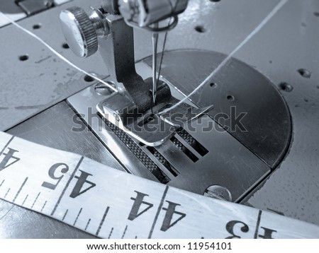Industrial sewing machine close up