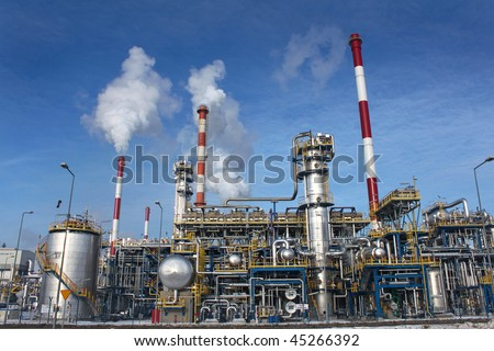 Industrial shot of an oil refinery plant