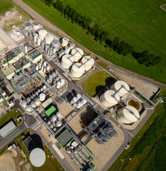 industrial site with detailed view of a refinery
