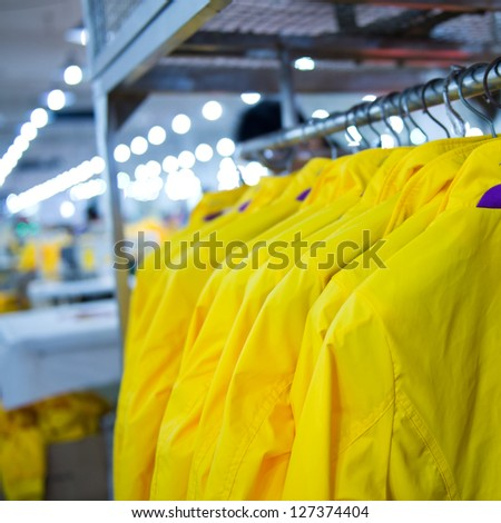 Industrial size clothes factory in asia.