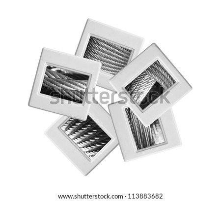 Industrial slides on white background - stock photo