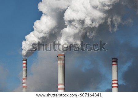 Industrial smoke stack of coal power plant #607164341