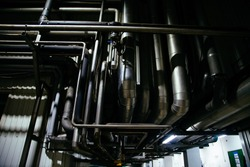 Industrial steel pipes. Pipeline system for delivering components or for heating or ventilation etc