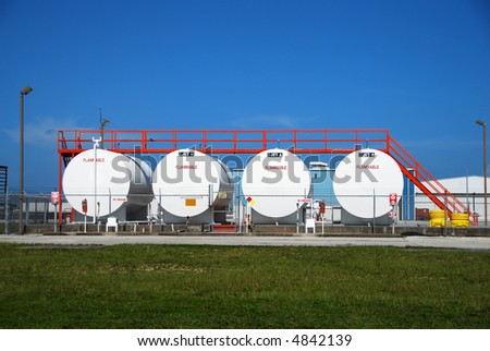 Industrial storage facility with jet fuel canisters