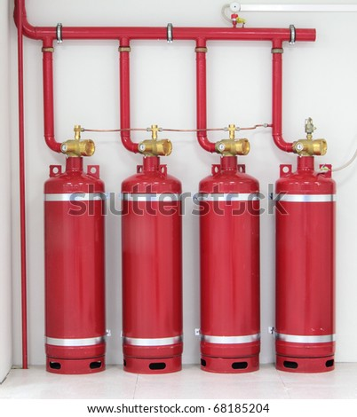 Industrial system of a gas fire extinguishing