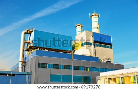 Industrial technology building on sky background