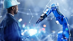 Industrial technology concept. Communication network. INDUSTRY 4.0. Factory automation.