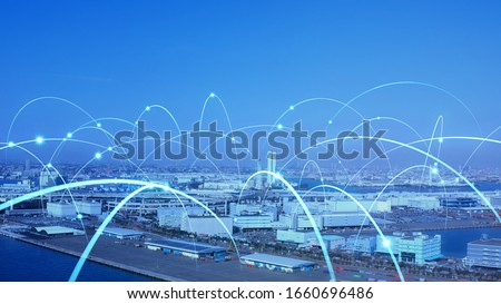 Industrial technology concept. Communication network. INDUSTRY 4.0. Factory automation. Photo stock ©