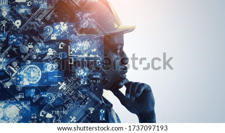 Industrial technology concept. Communication network. INDUSTRY 4.0. Factory automation. Сток-фото ©