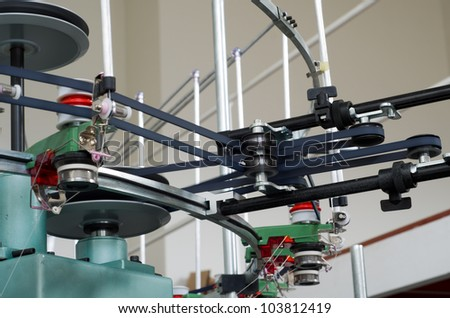 Industrial textile manufacture weaving machine with motion blur