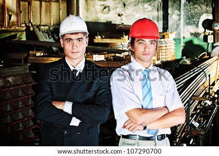 Industrial theme: two blue collars at a manufacturing area.