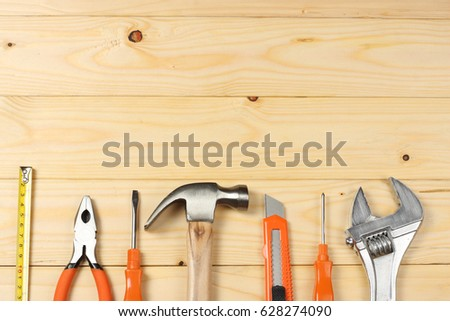industrial tools on wooden background / tools texture / tools background #628274090