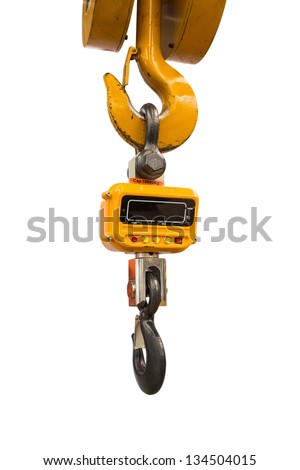 Industrial type digital weight scale hanging on hook of crane, isolated on white background #134504015