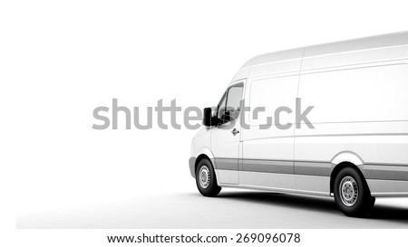 Industrial van on a white background, room for text copy space