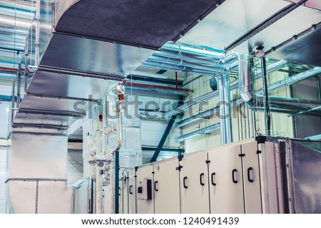 Industrial ventilation, air handling unit with ductwork