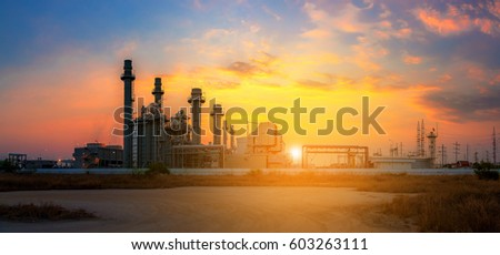 Industrial view at oil refinery plant form industry zone. #603263111