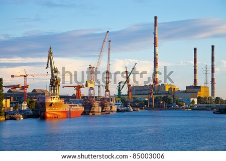 Industrial view of the Gdansk Shipyard, Poland.