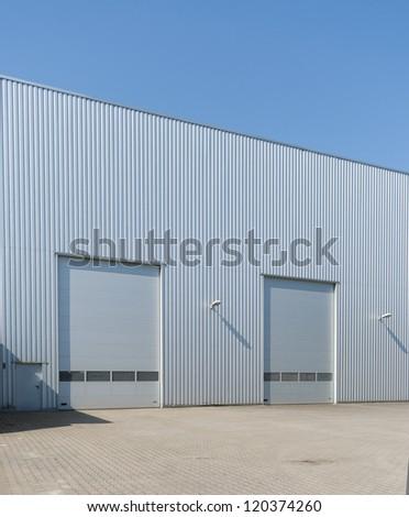 industrial warehouse with double roller doors