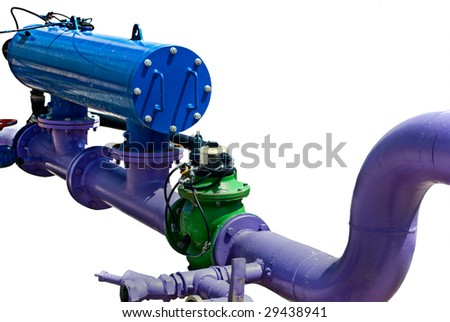 Industrial water pipe systems. Flange connection.