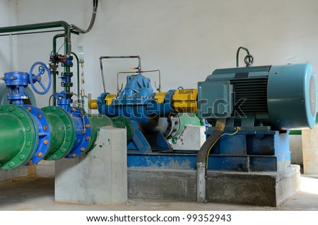 industrial water pumping and pipes