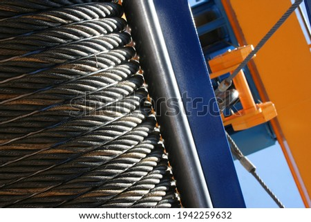 Industrial winch coil with metal cable wire Foto d'archivio ©