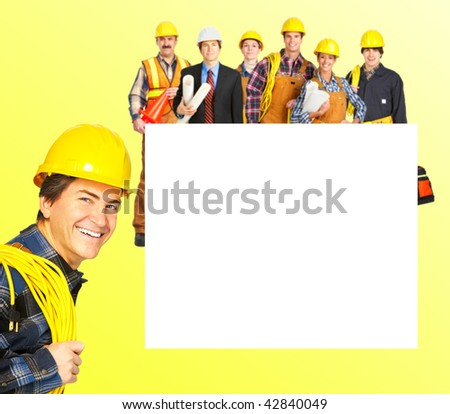 Industrial workers people over yellow background