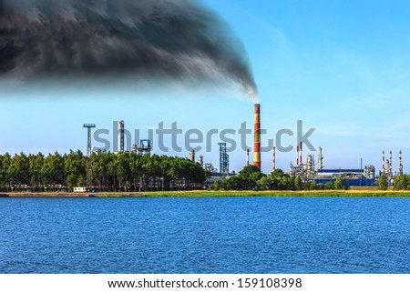 Industrial zone - Air pollution at a chemical factory.