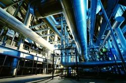 Industrial zone, Steel pipelines and equipment in blue tones