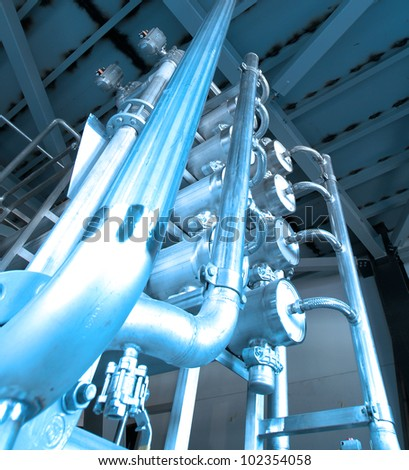 Industrial zone, Steel pipelines and heat exchangers