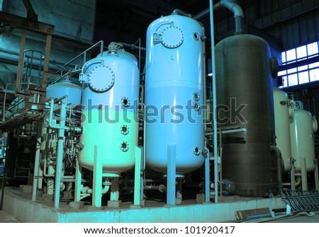 Industrial zone, Steel pipelines and storage tanks