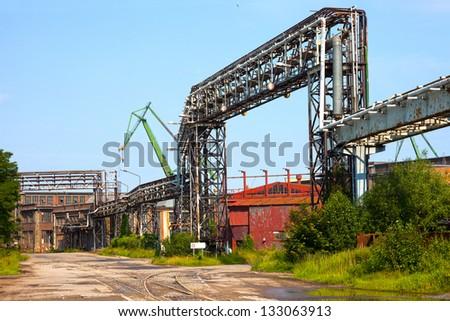 Industrial zone, Steel pipelines in an old factory.