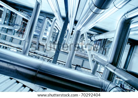 Industrial zone, Steel pipelines in blue tones
