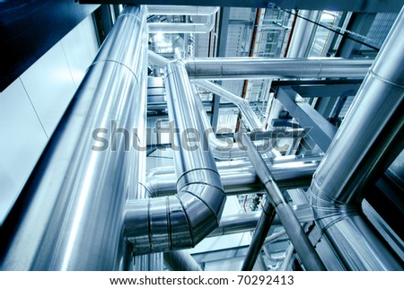 Industrial zone, Steel pipelines in blue tones #70292413