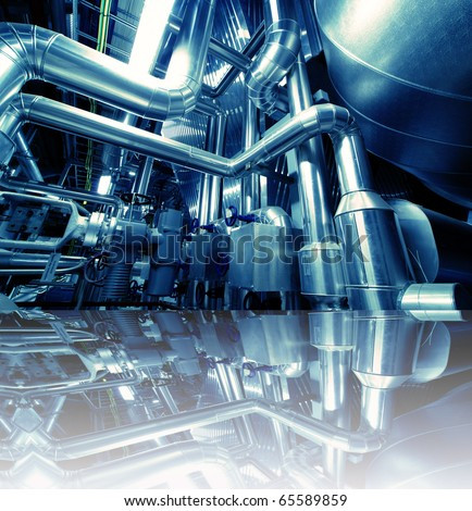 Industrial zone, Steel pipelines in blue tones  with reflection - stock photo