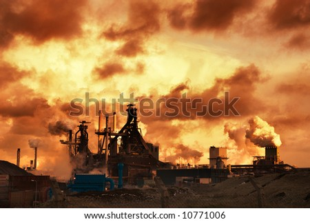 industry and sunset at night - stock photo