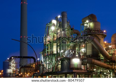 Industry at night, copper producing factory in Hamburg, Germany