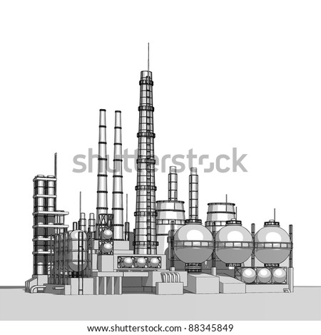 Industry concept: abstract plant with smokey sky. Bitmap copy my vector id 10997833