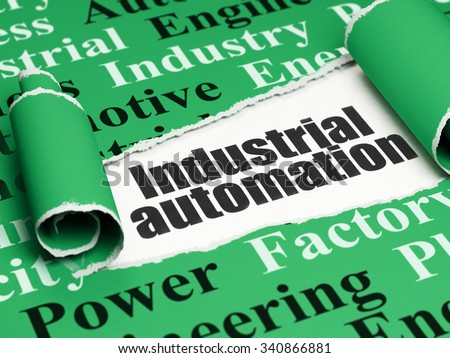 Industry concept: black text Industrial Automation under the curled piece of Green torn paper with  Tag Cloud