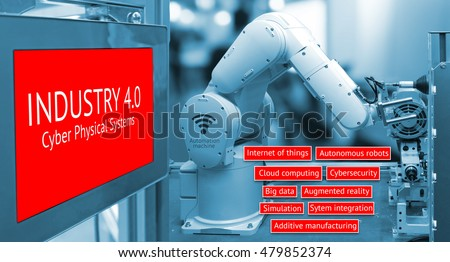 Industry 4.0 concept image , Cyber Physical Systems concept , Automate wireless Robot arm and industrial display instruments in smart factory and industry 4.0 text  background