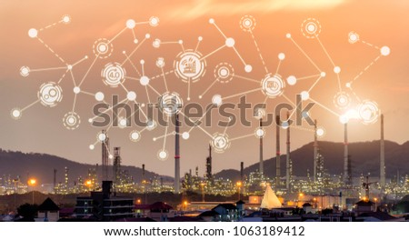 Industry 4.0 concept image. industrial instruments in the factory with cyber and physical system icons ,Internet of things network,smart factory solution #1063189412