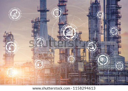 Industry 4.0 concept image. industrial instruments in the factory with cyber and physical system icons ,Internet of things network,smart factory solution #1158294613