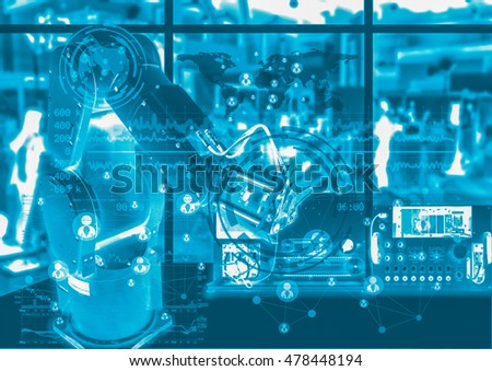 Industry 4.0 concept image. Robot arm and industrial instruments in the factory with cyber and physical system icons.