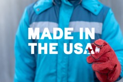 Industry concept of made in the usa. Quality american product control.
