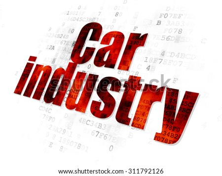 Industry concept: Pixelated red text Car Industry on Digital background