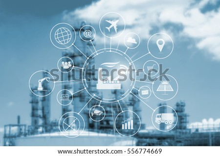 Industry 4.0 concept, smart factory with icon flow automation and data exchange in manufacturing technologies. #556774669
