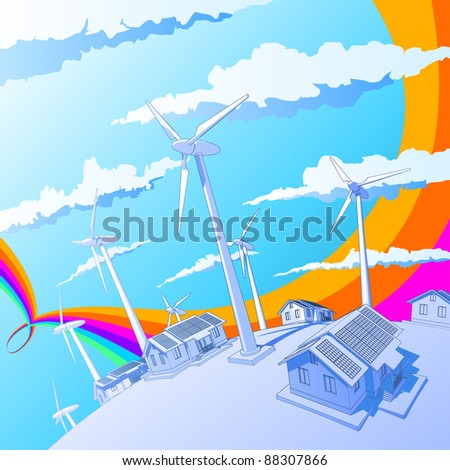 Industry concept: wind-driven generators & houses with solar power systems. Bitmap copy my vector id 11229283