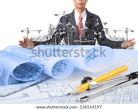 industry construction and business man use for construction theme